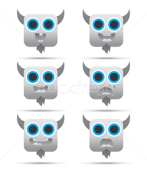 Emotie gezicht karakter icon vector grafische Stockfoto © vector1st
