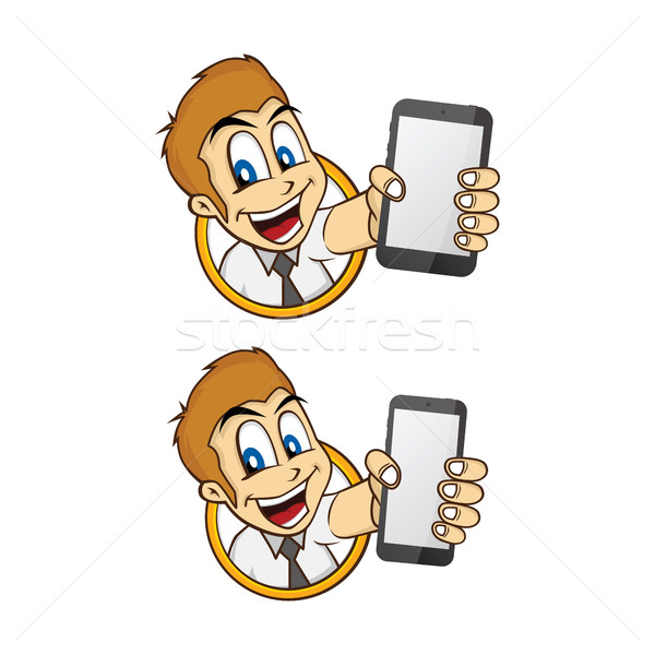 happy businessman holding phone Stock photo © vector1st