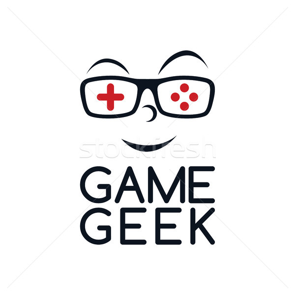 Gry geek logo cartoon Zdjęcia stock © vector1st