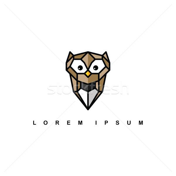 Bruin uil logo vector kunst Stockfoto © vector1st