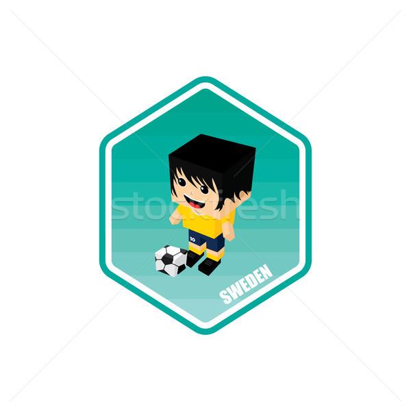 Futball izometrikus Svédország vektor művészet rajz Stock fotó © vector1st
