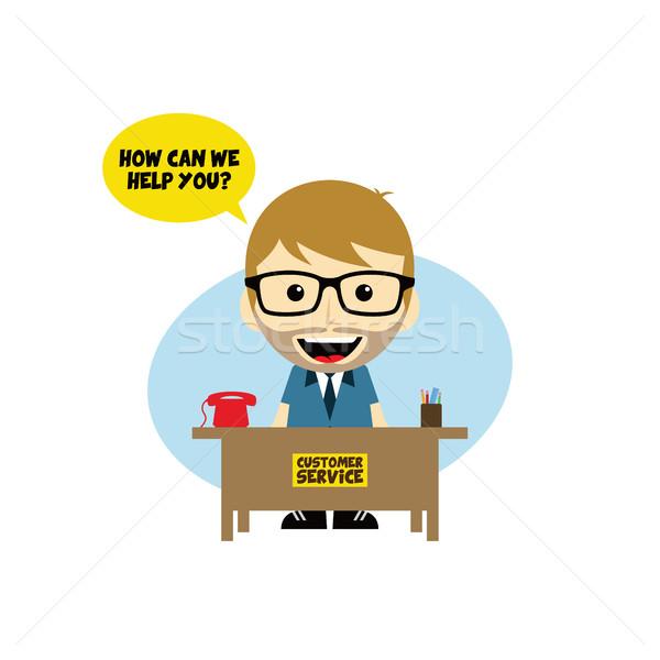 ügyfélszolgálat asztal rajzfilmfigura vektor művészet illusztráció Stock fotó © vector1st