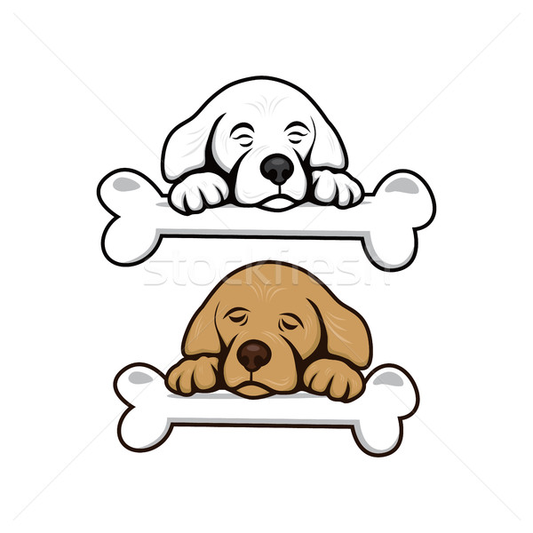 Aranyos kicsi kutyakölyök csont vektor művészet Stock fotó © vector1st