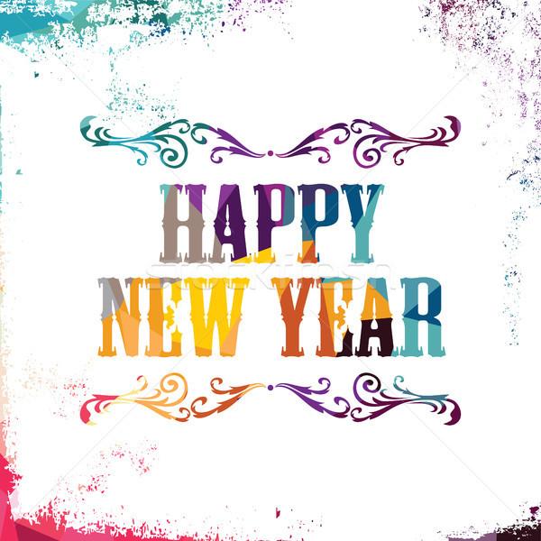 Happy new year résumé coloré triangle géométrique Photo stock © vector1st