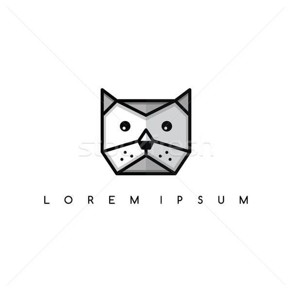 Sevimli kedi kedi hayvan kafa logo Stok fotoğraf © vector1st