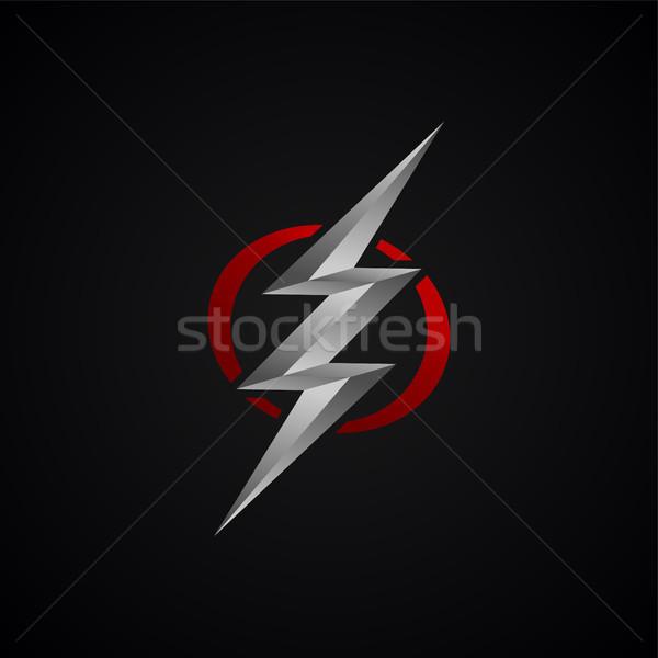 Rouge argent Thunder signe vecteur Photo stock © vector1st