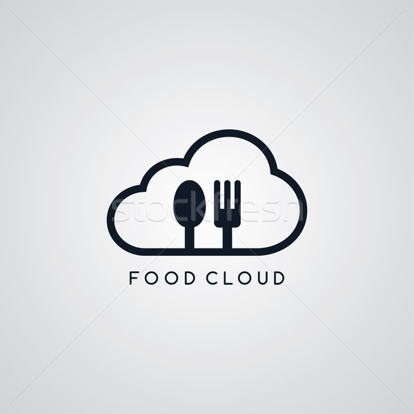 food cloud fork spoon theme Stock photo © vector1st