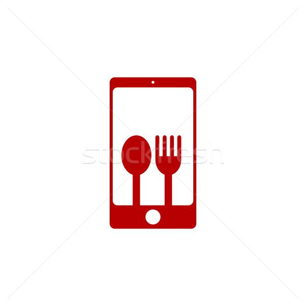 étterem telefon alkalmazás logo sablon vektor Stock fotó © vector1st