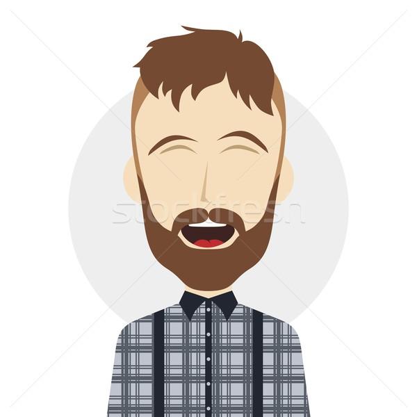 Engraçado risonho cara masculino Foto stock © vector1st