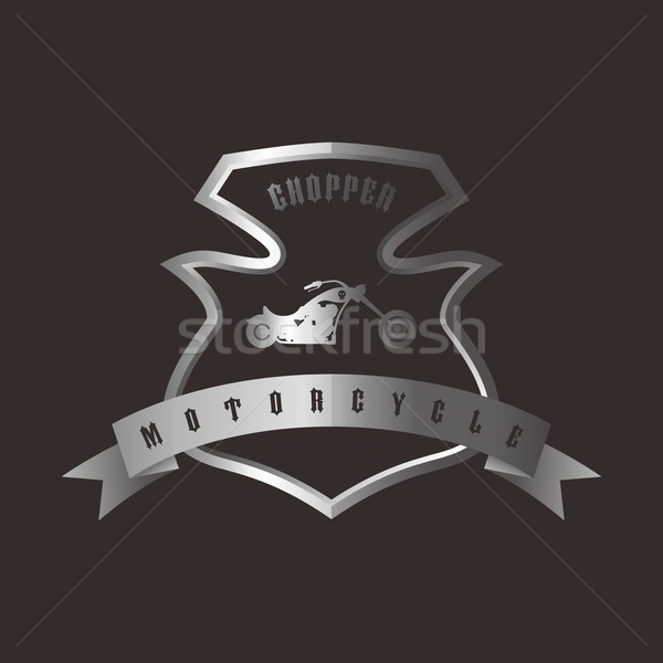 shiny silver shield chopper motorcycle Stock photo © vector1st