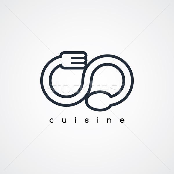 ложку вилка логотип ресторан вектора искусства Сток-фото © vector1st