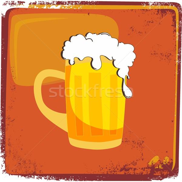 Frio cerveja gráfico arte beber retro Foto stock © vector1st