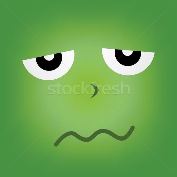 Yeşil canavar karakter yüz vektör sanat Stok fotoğraf © vector1st