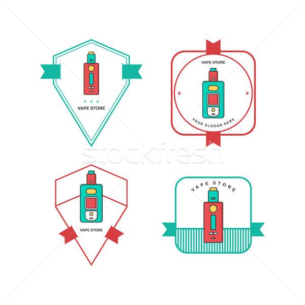 retro color badge theme electric cigarette mod - vaporizer vector Stock photo © vector1st
