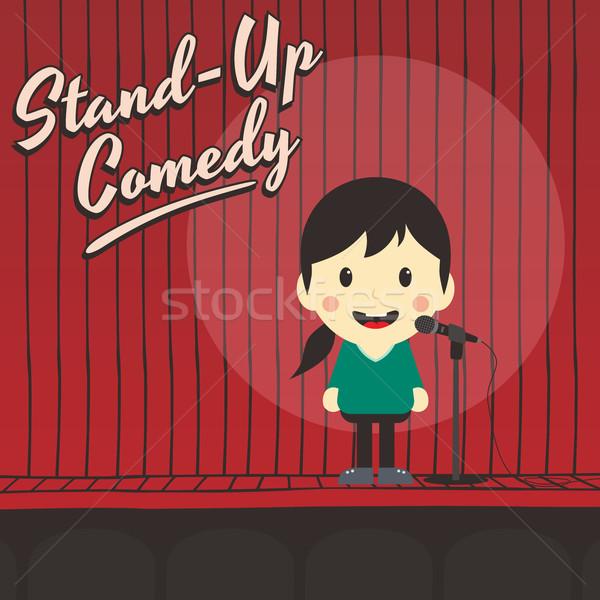 Vrouwelijke stand omhoog komiek muziek Stockfoto © vector1st