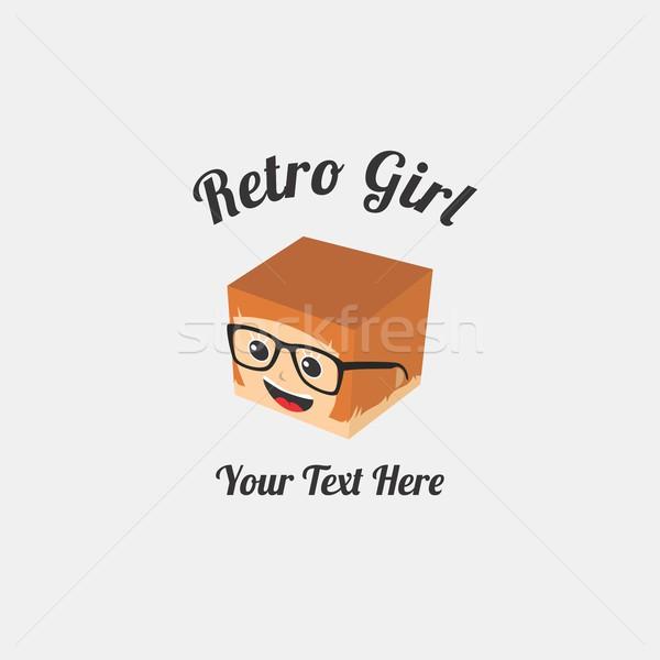 Lány izometrikus rajzfilmfigura vektor grafikus illusztráció Stock fotó © vector1st