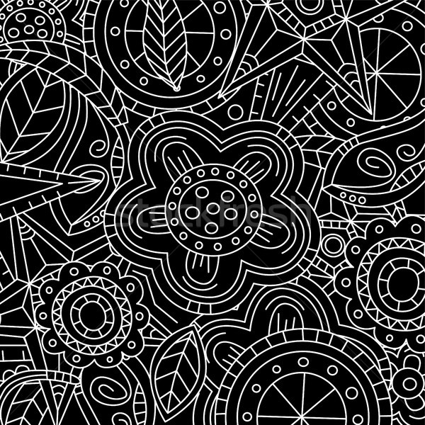 black floral flower pattern doodle Stock photo © vector1st