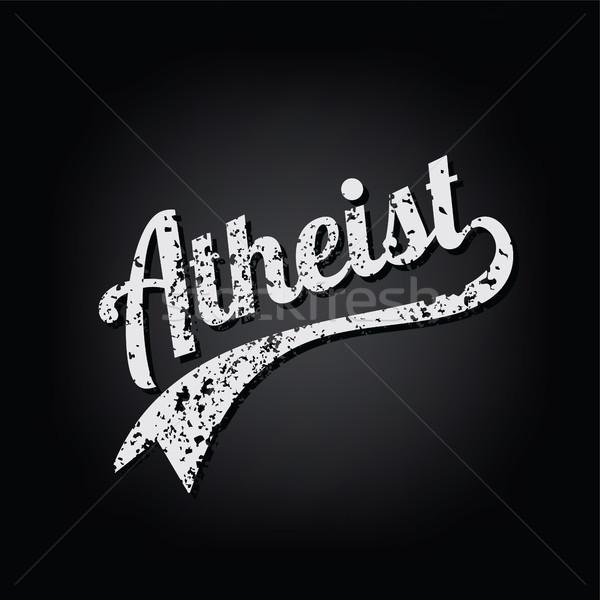 atheism socialist grungy retro varsity theme text vector Stock photo © vector1st