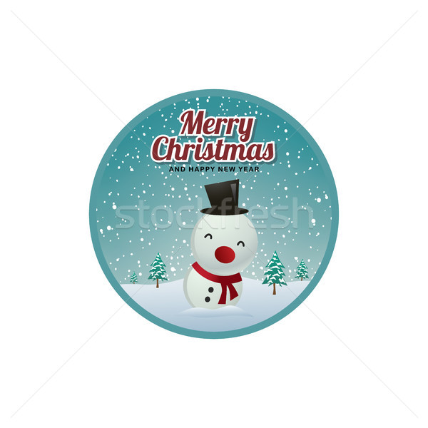 merry christmas greeting badge label sticker Stock photo © vector1st
