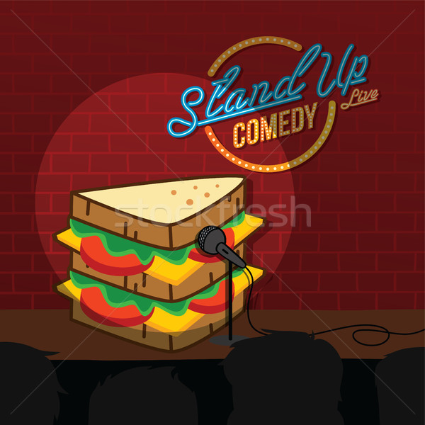 Stand up comédie sandwich ouvrir micro Photo stock © vector1st