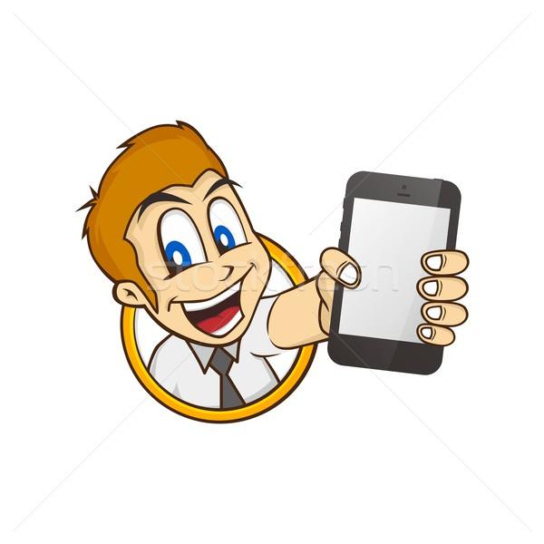 cartoon guy holding phone Stock photo © vector1st