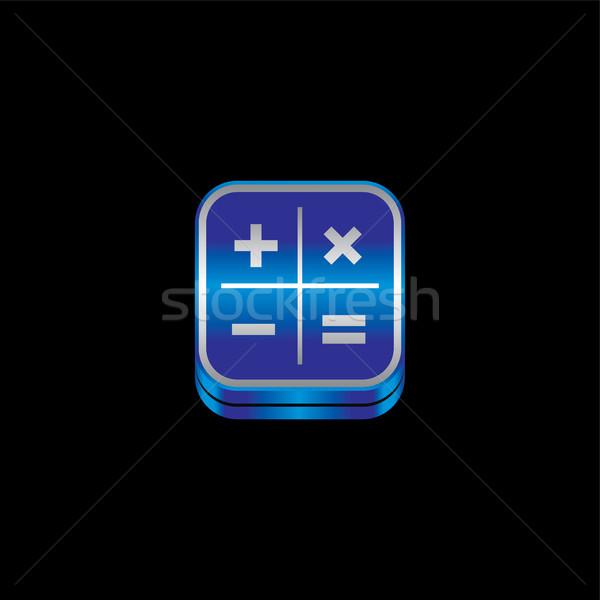 blue metal plate theme icon button Stock photo © vector1st