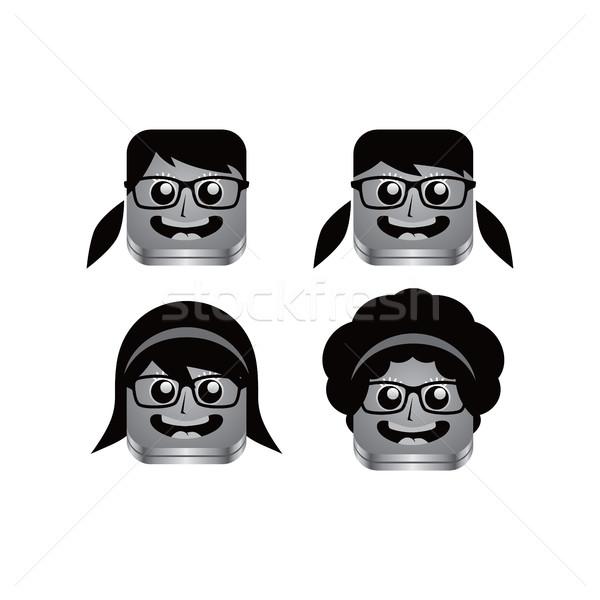 geek girl avatar portrait set Stock photo © vector1st