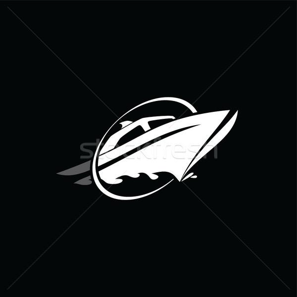 Tengerjáró hajó logo logotípus vektor művészet illusztráció Stock fotó © vector1st