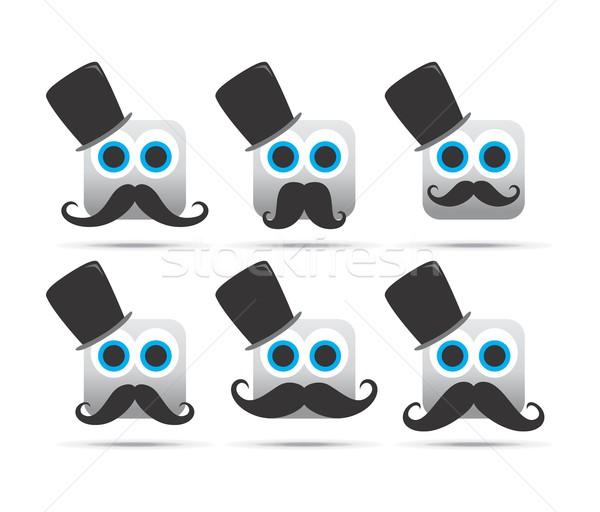 Duygu yüz karakter ikon vektör grafik Stok fotoğraf © vector1st