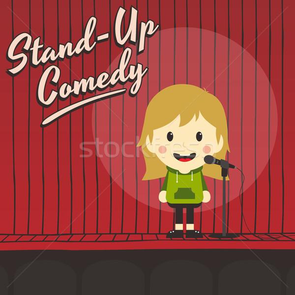 Kobiet stoją w górę komik muzyki Zdjęcia stock © vector1st