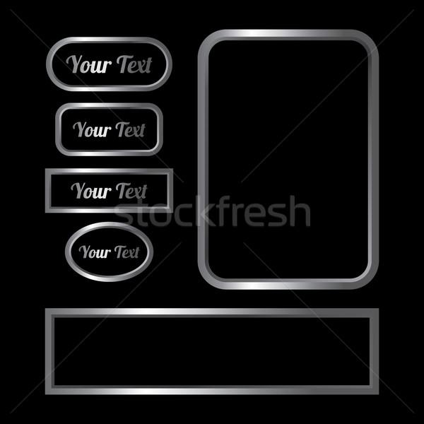 серебро металл сайт кнопки вектора искусства Сток-фото © vector1st