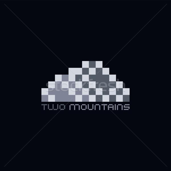 Pixel logo sablon terv felirat vállalati Stock fotó © vector1st