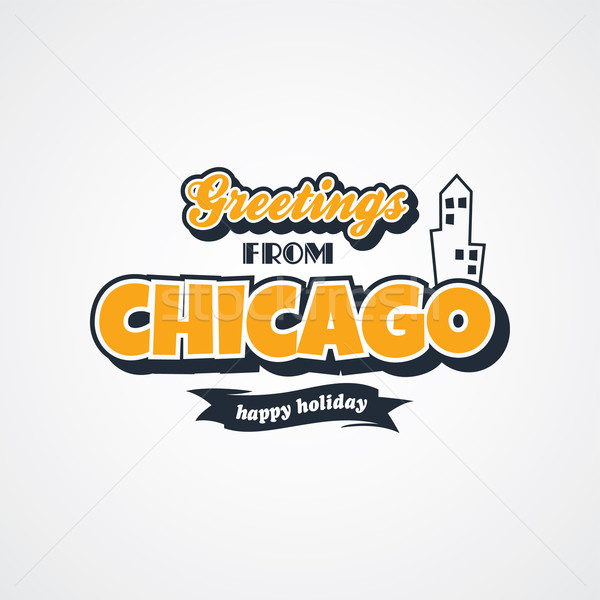 Chicago vakáció üdvözlet vektor művészet illusztráció Stock fotó © vector1st