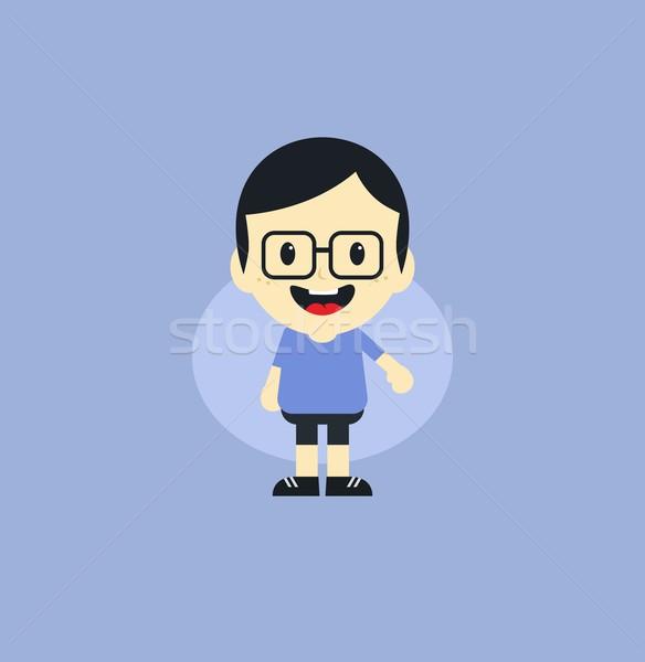Imádnivaló fiú rajzfilmfigura grafikus művészet arc Stock fotó © vector1st