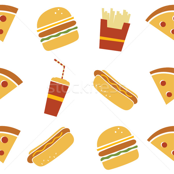 seamless fastfood restaurant theme pattern Stock photo © vector1st