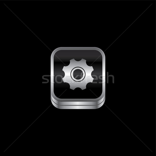 setting cog metal plate theme icon button Stock photo © vector1st