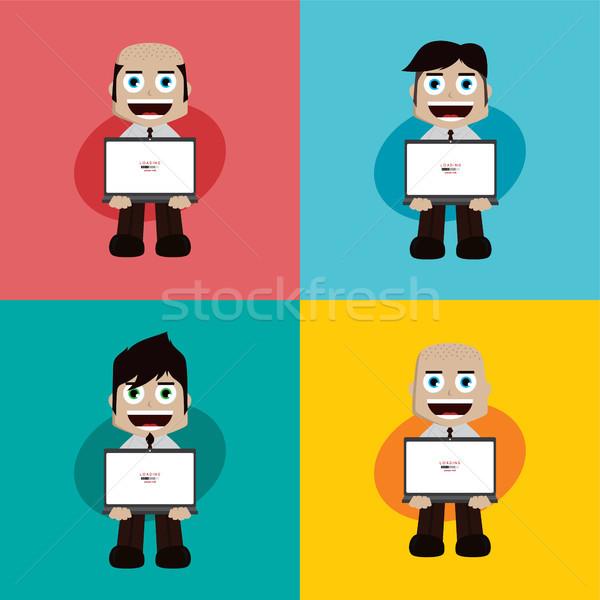 Işadamı müdür çalışmak karikatür vektör sanat Stok fotoğraf © vector1st