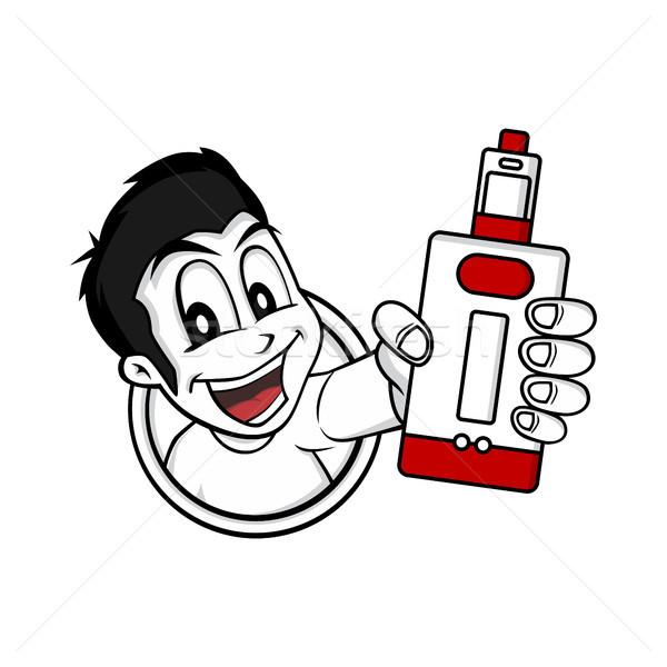 man holding vaporizer mod - electric cigarette Stock photo © vector1st