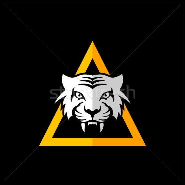 Stock photo: intimidating tiger front view theme logo template