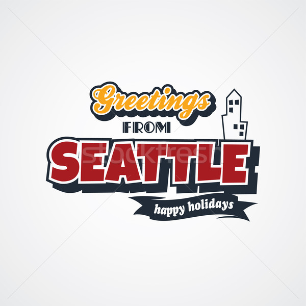 Seattle vakantie vector kunst illustratie Stockfoto © vector1st