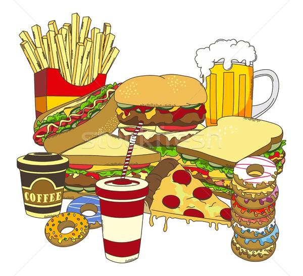 Voedsel drinken vector grafische kunst ontwerp Stockfoto © vector1st