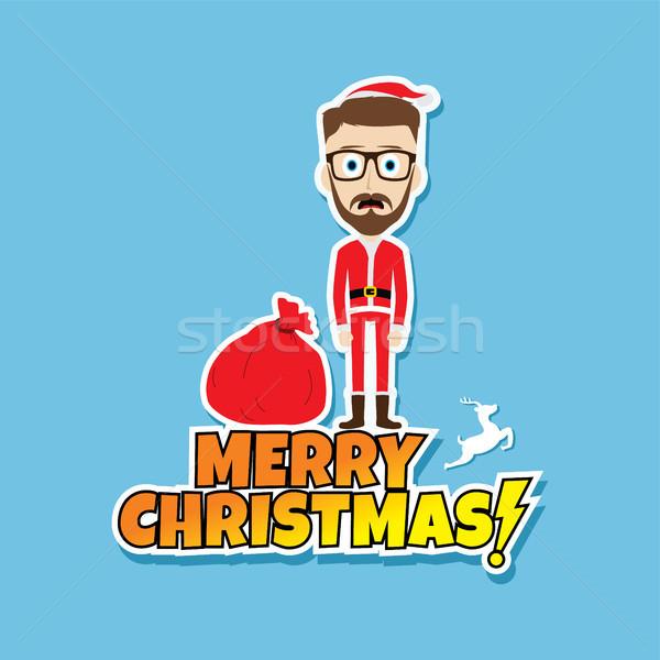 Дед Мороз Рождества тощий папу зима костюм Сток-фото © vector1st