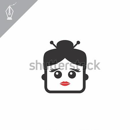 Vierkante vorm grappig cartoon hoofd vector Stockfoto © vector1st