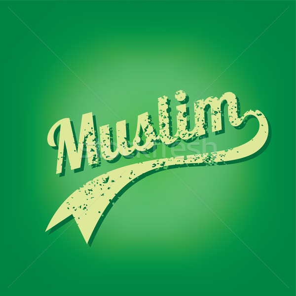 muslim islam believe grungy text varsity vector Stock photo © vector1st