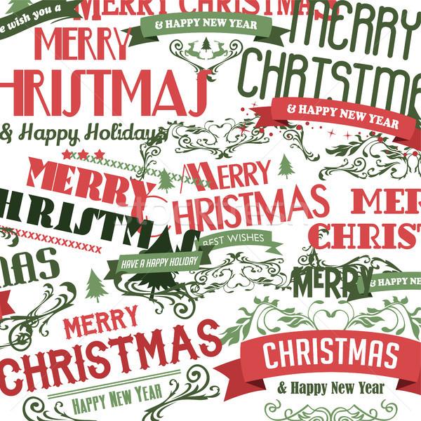 Stock fotó: Vidám · karácsony · boldog · új · évet · vektor · művészet · felirat