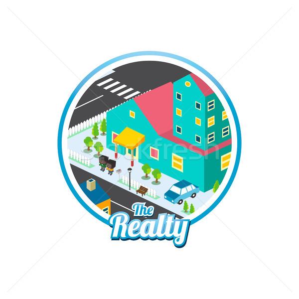 big city isometric real estate realty cartoon logo template Stock photo © vector1st
