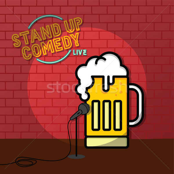 stand up comedy beer theme Stock photo © vector1st