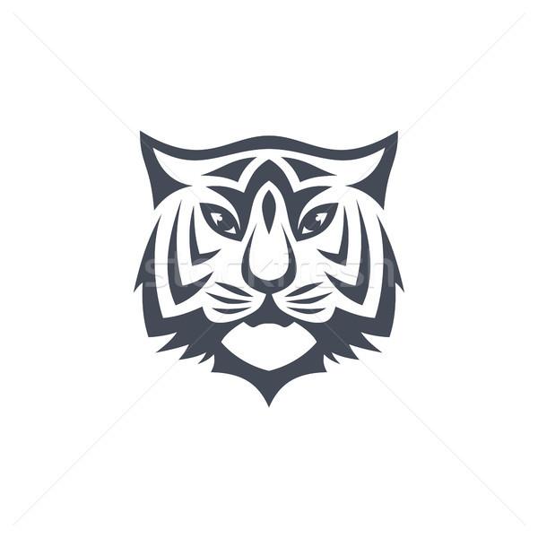 虎 フロント 表示 ロゴ テンプレート ベクトル ストックフォト © vector1st