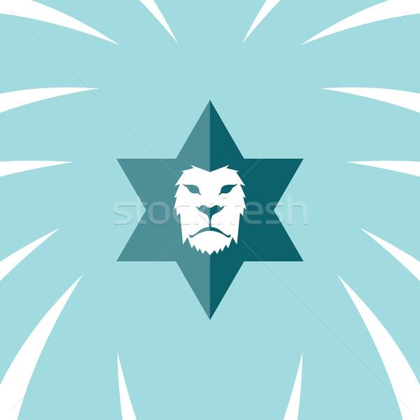 León cabeza plantilla logo vector arte Foto stock © vector1st