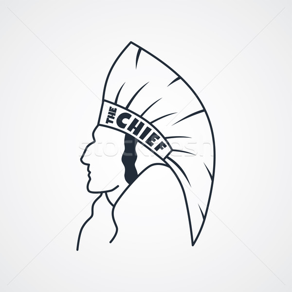 indian chief art sign Stock photo © vector1st